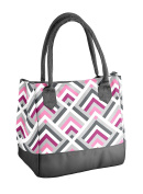 Fit & Fresh Vienna Insulated Lunch Bag with Reusable Ice Pack Magenta Stripe Weave