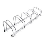Relaxdays Bike Stand For 5 Bikes, Floor And Wall Mount, 26 x 130 x 32 cm, Outdoor Bike Holder Rack, Steel, Silver