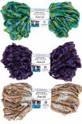 Red Heart Ascot Boutique Yarn 3 Bundle Lot 3 Colours Pucker Spiffy Ruffles