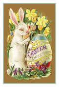 Vintage Easter Bunny Egg and Spring Flowers Counted Cross Stitch Pattern