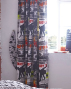 """One Pair of Lined Curtains - Teen stunt street skateboard design (66 x 72"""""""