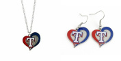 Officially Licenced Swirl Heart Necklace and Earring Set Texas Rangers