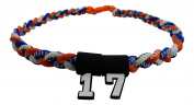Custom Number - 50cm Royal Blue Orange & White Tornado Necklace