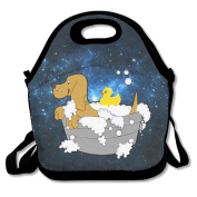 Cute Dog In Bathroom With Rubber Duck Lunch Bag Box Tote Bag