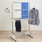 3 Tier Rolling Drying Rack Made w/ Stainless Steel and Plastic in White and Grey Finish 150cm H x 150cm W x 70cm D in.