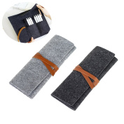 2 Pcs Roll Up Wool Felt Pencil Holder Pen Case Organisers School Stationery Supplies Pouch Bag Foldable Wrap Case Cosmetic Bags, Set of 2, Can Hold 8-20 Pens/Pencils, Dark Grey+Light Grey