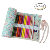 Yonger Canvas Pencil Wrap with 36 Holes, Pencils Roll Pouch Case Hold For 36 Coloured Pencils ,1PC