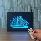 ZQQ Colourful Acrylic Sailing 3D Night Light Stereo Photo Frame Bedside Lamp with Remote