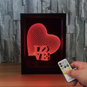 ZQQ Colourful Acrylic Heart 3D Night Light Stereo Photo Frame Bedside Lamp with Remote