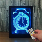 ZQQ Colourful Acrylic Alarm Clock 3D Night Light Stereo Photo Frame Bedside Lamp with Remote