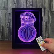 ZQQ Colourful Acrylic Snowman 3D Night Light Stereo Photo Frame Bedside Lamp with Remote
