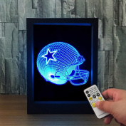 ZQQ Colourful Acrylic Rugby Hat 3D Night Light Stereo Photo Frame Bedside Lamp with Remote