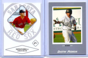 (2) DUSTIN PEDROIA 2004 JUST MINORS SILVER EDITION ROOKIE CARD LOT #60! BOSTON RED SOX!