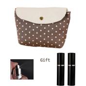 Brendacosmetic Lovely Polka Dot Makeup bag Coin Purse Cosmetic Bag Clutch Handbag with 4 Pcs-10 ml Spray Bottle Easy Fill Travel Perfume Atomiser Spray Bottle