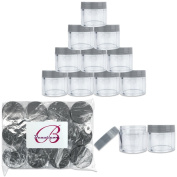 Beauticom 24 Pieces 30G/30ML (1 Oz) Round Clear Jars with Grey Flat Top Lids for Pills, Medication, Ointments and Other Beauty & Healthy Aids- BPA Free