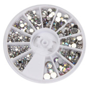 Misaky Round 3D Acrylic Nail Art Gems Crystal Rhinestones DIY Decoration Wheel