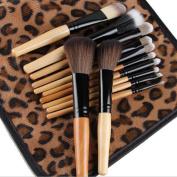 Garrelett 12Pcs Makeup Brushes Set Soft Nylon Hair Wooden Handle Cosmetic Brushes Tool Powder Shadow Eyeliner Lip Blending Beauty Brush Kit with African Leopard Holder Bag