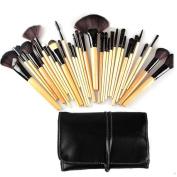 Garrelett 32Pcs Makeup Brush Set Soft Synthetic Fibres Wooden Handle Cosmetic Brushes Tools Powder Foundation Eyeshadow Eyeliner Lip Beauty Brush Kit + PU Black Pouch