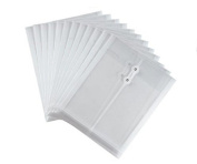 Ferbixo 12 Pcs Transparent Folder A4 Paper Size PP Water Resistant Document Folder with rope binding