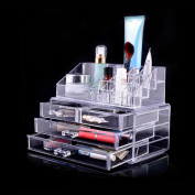 Bolayu Makeup Cosmetics Jewellery Organiser Clear 3 Drawers Lipstick Box Storage