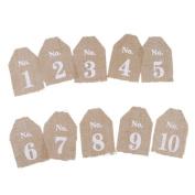 Rustic Jute Vintage Wedding Table Numbers 1-10 Hessian Burlap Banner Decor