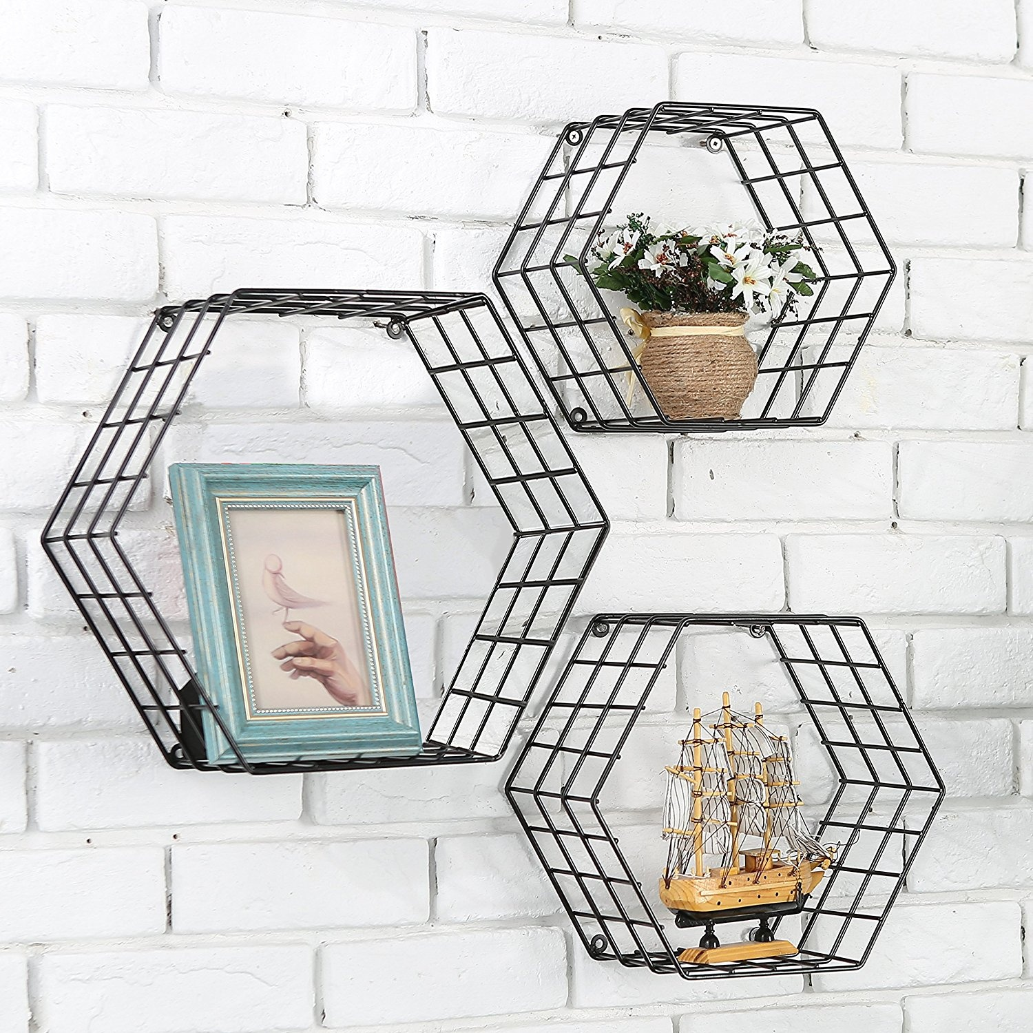 Metal Wire Hexagon Design Wall Mounted Floating Shelves Set Of 3
