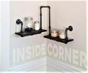 Corner Pipe Shelf - Industrial Chic - Rustic Modern - Pipe decorations - Pine Wood Shelf - Corner Shelf - Industrial Home Decor