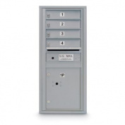 postalproducts N1029442 4 Door Standard 4C Mailbox with 1 Parcel Locker, 100cm Height, 44cm Width, Silver