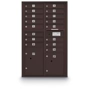 postalproducts N1029410BRNZ 16 Door Standard 4C Mailbox with 2 Parcel Lockers, 130cm Height, 80cm Width, Bronze