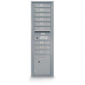 postalproducts N1029455SLVR 9 Door Standard 4C Front Loading Mailbox, 140cm Height, 44cm Width, Silver