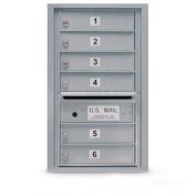 postalproducts N1029453SLVR 6 Door Standard 4C Mailbox, Powder Coat, 70cm Height, 44cm Width, Silver