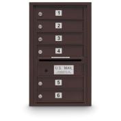 postalproducts N1029453BRNZ 6 Door Standard 4C Mailbox, 70cm Height, 44cm Width, Bronze