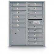 postalproducts N1029441SLVR 15 Door Standard 4C Front Loading Mailbox, 100cm Height, 80cm Width, Silver