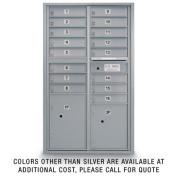 postalproducts N1029410SLVR 16 Door Standard 4C Mailbox with 2 Parcel Lockers, 130cm Height, 80cm Width, Silver