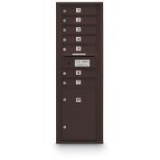 postalproducts N1029411BRNZ 7 Door Standard 4C Mailbox with 1 Parcel Locker, 130cm Height, 44cm Width, Bronze