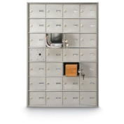 postalproducts N1029433 27 Door Front Load 4B+ Horizontal Mailbox, 100cm Height, 70cm Width, Anodized Aluminium