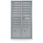 postalproducts N1029454SLVR 19 Door Standard 4C Mailbox with 2 Parcel Lockers, 140cm Height, 80cm Width, Silver