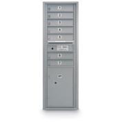 postalproducts N1029411SLVR 7 Door Standard 4C Mailbox with 1 Parcel Locker, 130cm Height, 44cm Width, Silver
