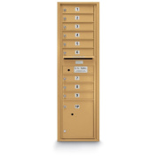 postalproducts N1029455GLD 9 Door Standard 4C Front Loading Mailbox, 140cm Height, 44cm Width, Gold