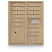 postalproducts N1029441SND 15 Door Standard 4C Front Loading Mailbox, 100cm Height, 80cm Width, Sandstone