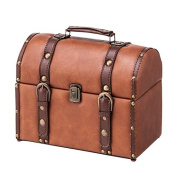 Azumaya IW-275 Storage Carry Trunk Synthetic Leather Finish Compact Brown