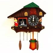 GBDSD New European Garden Germany Edition Black Forest Cuckoo Clock Doll Dancing Wall Clock Mute Clock