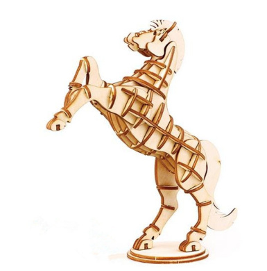 WISDOMTOY 3D DIY Wooden Simulation Animal Assembly Puzzle Model Toy for Kids and Adults, Horse
