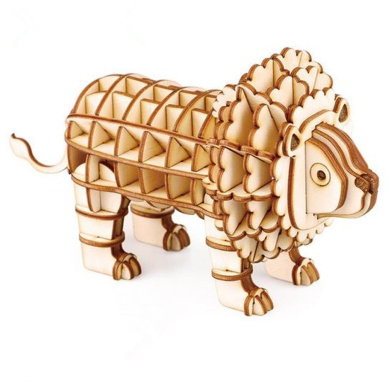 WISDOMTOY 3D DIY Wooden Simulation Animal Assembly Puzzle Model Toy for Kids and Adults, Lion