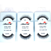 3 Pairs AmorUs 100% Human Hair False Medium Size Eyelashes # 1 + Free Earring