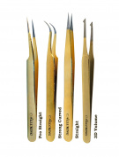Alluring Gold Tweezers for Eyelash Extension for Volume Lashes 3D, 5D & 6D lashes