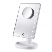 Lighted Makeup Mirrors Touch Screen 21 LEDs Square Desktop Cosmetic Mirror with Removable 10x Magnifying Mirrors