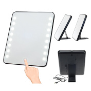 LED Lighted Makeup Mirror, Next Generation Powerful Bright Lighted Vanity Table Mirror, USB or Battery Operated Travel mirror