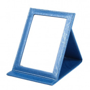 APAS Deluxe PU Leather Desktop Large Makeup Cosmetics Personal Beauty Folding Mirrors Blue
