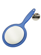 bulk buys OL093 Double Sided Hand Held Mirror, Transparent, Blue, Silver